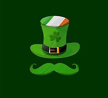 Shamrock Leprechaun Hat of Ireland Flag with Green Mustache by scottorz