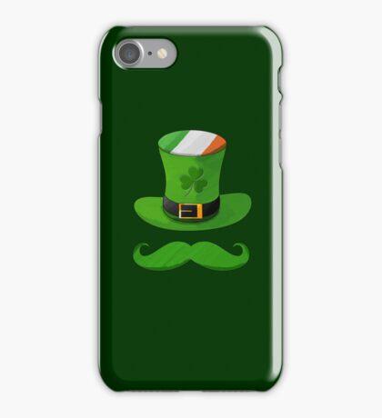 Shamrock Leprechaun Hat of Ireland Flag with Green Mustache iPhone Case/Skin
