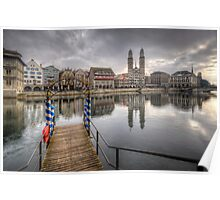 Limmat River Reflections Poster