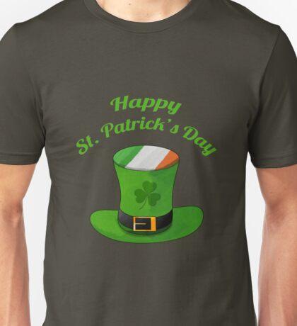 Happy St. Patrick's Day with Leprechaun Hat of Ireland Flag & Shamrock Clovers. Unisex T-Shirt