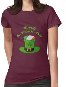 Happy St. Patrick's Day with Leprechaun Hat of Ireland Flag & Shamrock Clovers. Womens Fitted T-Shirt