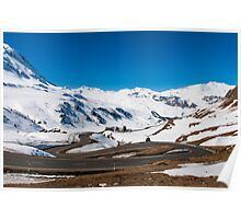 A winding road on the Julier alpine pass  Poster