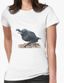 Fist bumping baby Gibbon Raven Womens Fitted T-Shirt