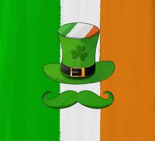 Ireland Flag & Shamrock Leprechaun Hat Mustache by scottorz
