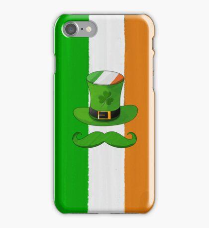 Ireland Flag & Shamrock Leprechaun Hat Mustache iPhone Case/Skin