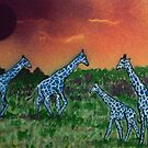 Blue Giraffes by George Hunter