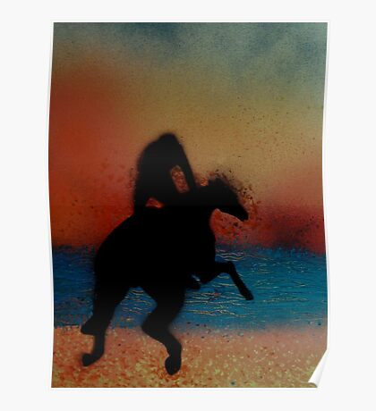 Riding on the beach at sunset Poster