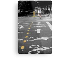 Single Biker on the Road Metal Print