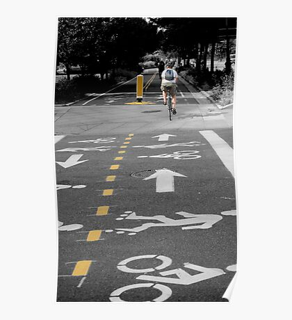 Single Biker on the Road Poster