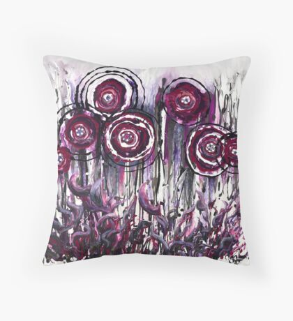 Purple Poppies Throw Pillow