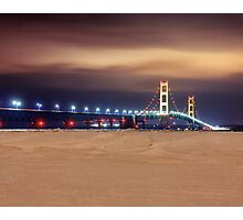 Mackinac Bridge at Night Photographic Print
