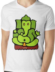 Green Ganesh T-Shirt Mens V-Neck T-Shirt