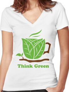Think Green T-Shirt Women's Fitted V-Neck T-Shirt