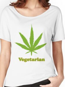 Vegetarian Pot Leaf T-Shirt Women's Relaxed Fit T-Shirt
