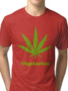 Vegetarian Pot Leaf T-Shirt Tri-blend T-Shirt