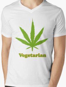 Vegetarian Pot Leaf T-Shirt Mens V-Neck T-Shirt