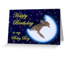 Birthday To My Baby Boy Bunny Rabbit Greeting Card