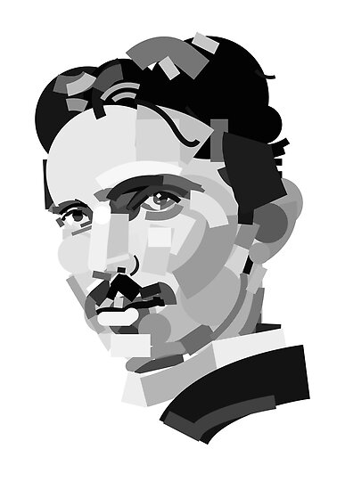 Geometric Portrait of Nikola Tesla by InTheModernEra