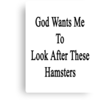 God Wants Me To Look After These Hamsters Canvas Print