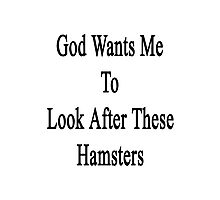 God Wants Me To Look After These Hamsters Photographic Print