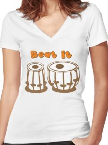 Tabla Drum Beat It T-Shirt Women's Fitted V-Neck T-Shirt
