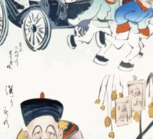 Humorous pictures showing the Chinese mode of transportation  four men harnessed to a carriage by their long pigtails and a scene depicting the silk industry 001 Sticker