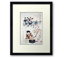 Humorous pictures showing the Chinese mode of transportation  four men harnessed to a carriage by their long pigtails and a scene depicting the silk industry 001 Framed Print
