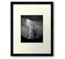 Giant Saguaro Cactus Lightning Strike Bw Framed Print