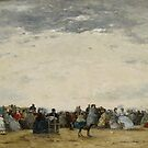 Vacationers on the Beach at Trouville, 1864  by Bridgeman Art Library