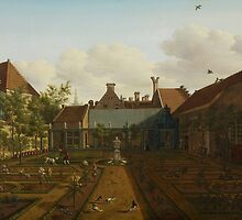 View of a town house garden in The Hague, 1775  by Bridgeman Art Library