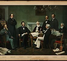Print of Lincoln's cabinet based on Carpenter painting by Adam Asar