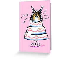 Tricolor Pomeranian Cake Trick Greeting Card