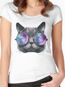 Cat Eye Galaxy Women's Fitted Scoop T-Shirt