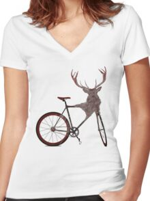 Stag Bike Women's Fitted V-Neck T-Shirt