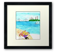 Man, Woman and Cat sunbathing on a boat Framed Print
