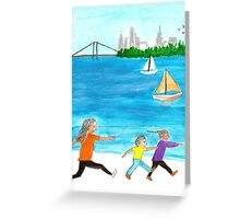Mother Running after her boy and girl on the beach Greeting Card