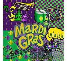 Mardi Gras Purple/Gold Collage Photographic Print