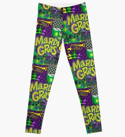 Mardi Gras Purple/Gold Collage Leggings