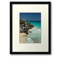 Mayan Temple and Turquoise Caribbean Sea Framed Print
