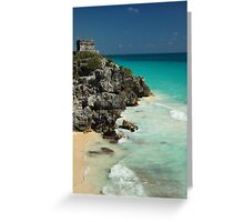 Mayan Temple and Turquoise Caribbean Sea Greeting Card