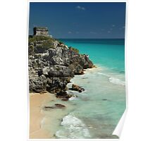 Mayan Temple and Turquoise Caribbean Sea Poster