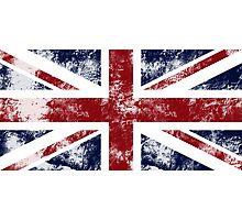 UK Flag - worn Photographic Print