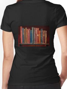 Mini library ~ of Classic books Women's Fitted V-Neck T-Shirt