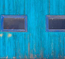 Old Wood Blue Garage Door by Bo Insogna