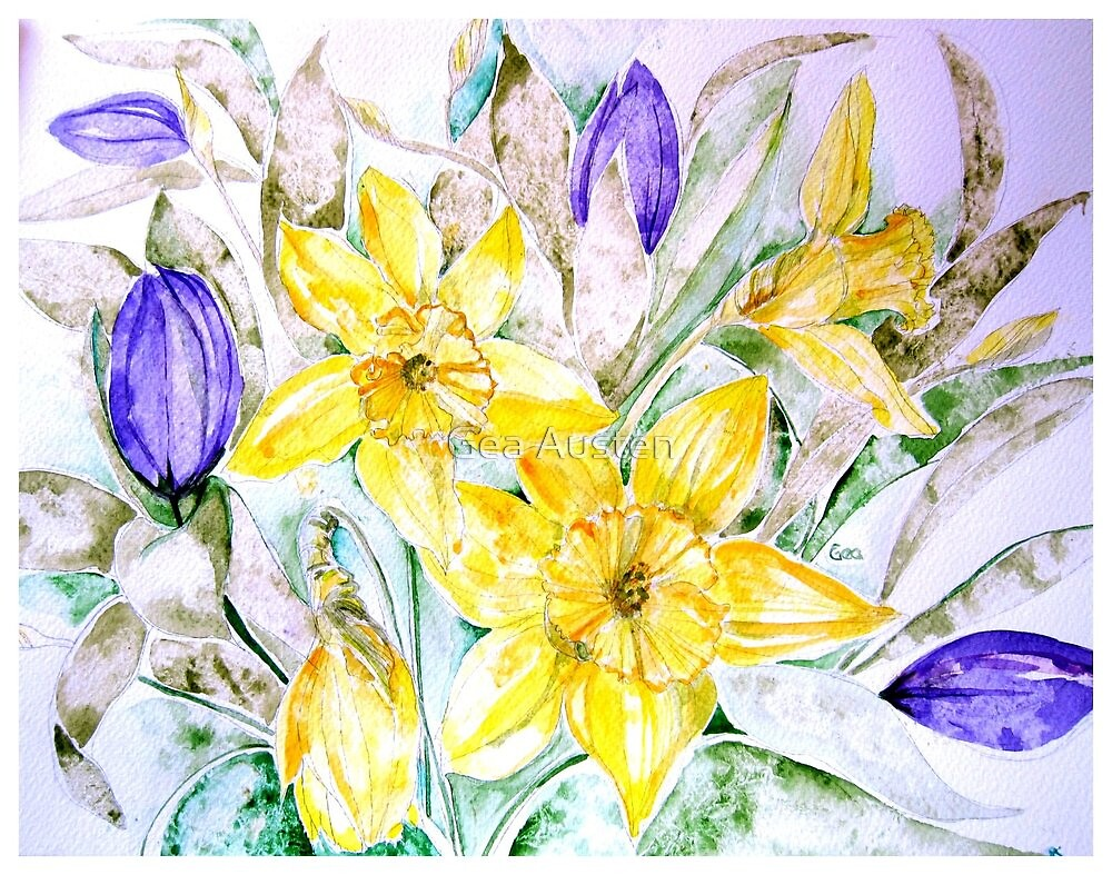 DAFFODILS AND TULIPS by Gea Austen