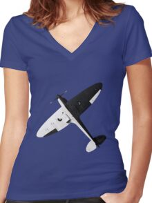 White and night Spitfire design Women's Fitted V-Neck T-Shirt