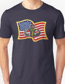 Special Forces Patch with U.S. Flag Unisex T-Shirt