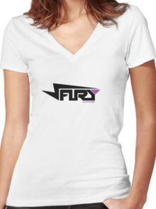 FURY CLOTHING BLACK/PURPLE Women's Fitted V-Neck T-Shirt