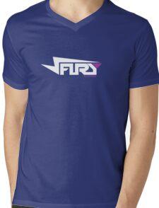 FURY CLOTHING WHITE/PURPLE Mens V-Neck T-Shirt