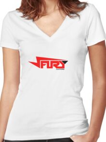 FURY CLOTHING RED/BLACK Women's Fitted V-Neck T-Shirt